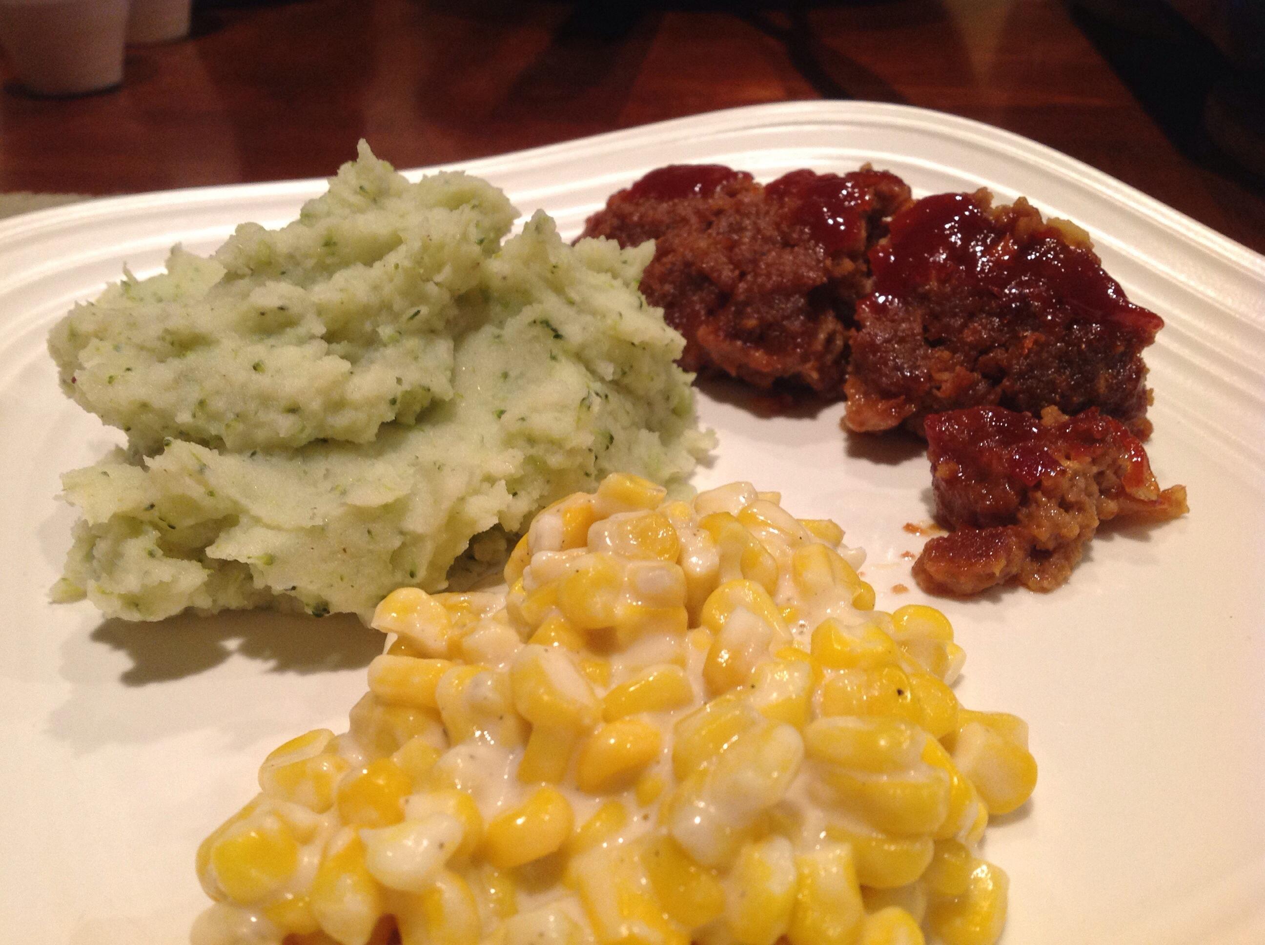 Meatloaf, Parmesan Broccoli Mashed Potatoes & Homemade Creamed Corn ...